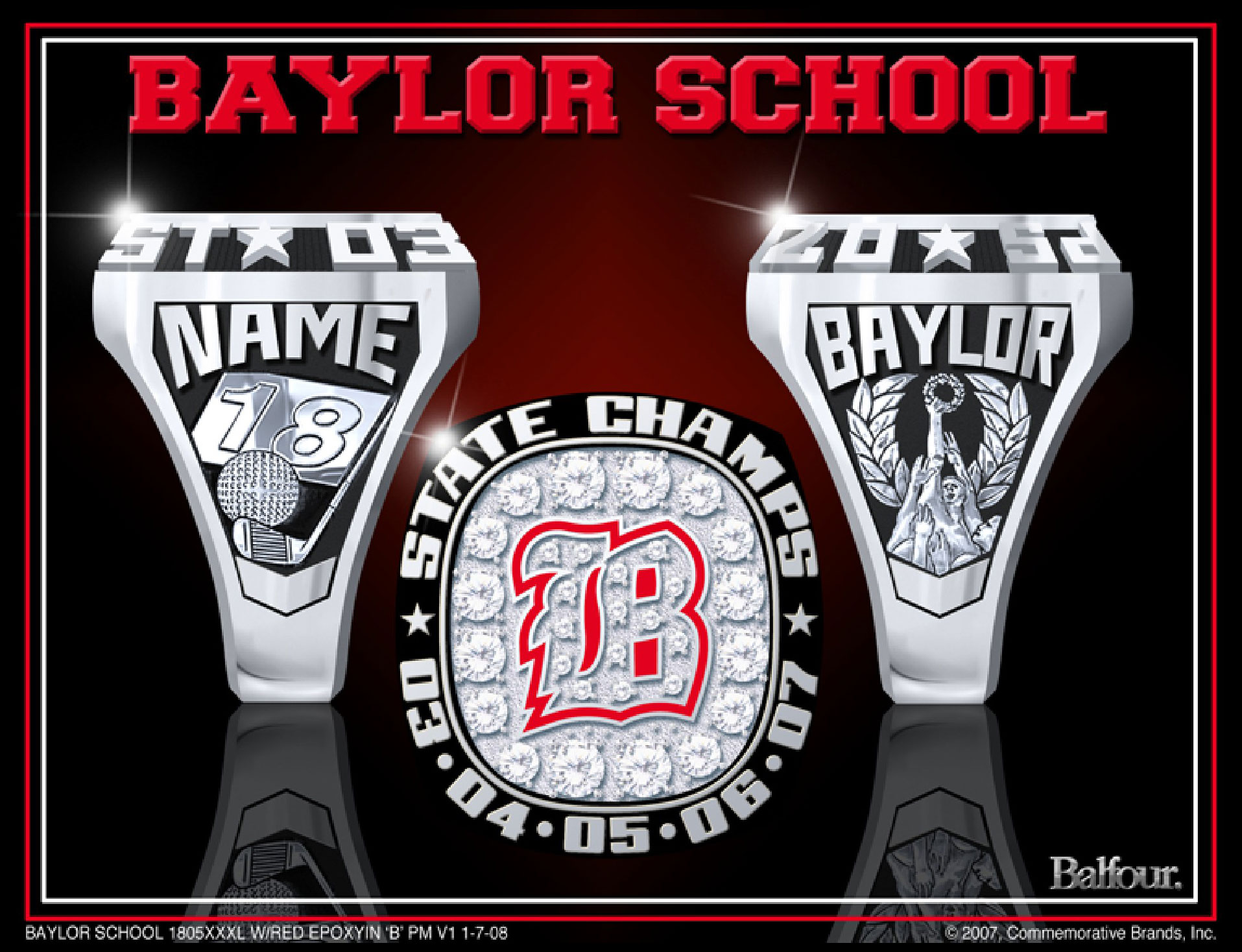 Golf Baylor high school championship rings