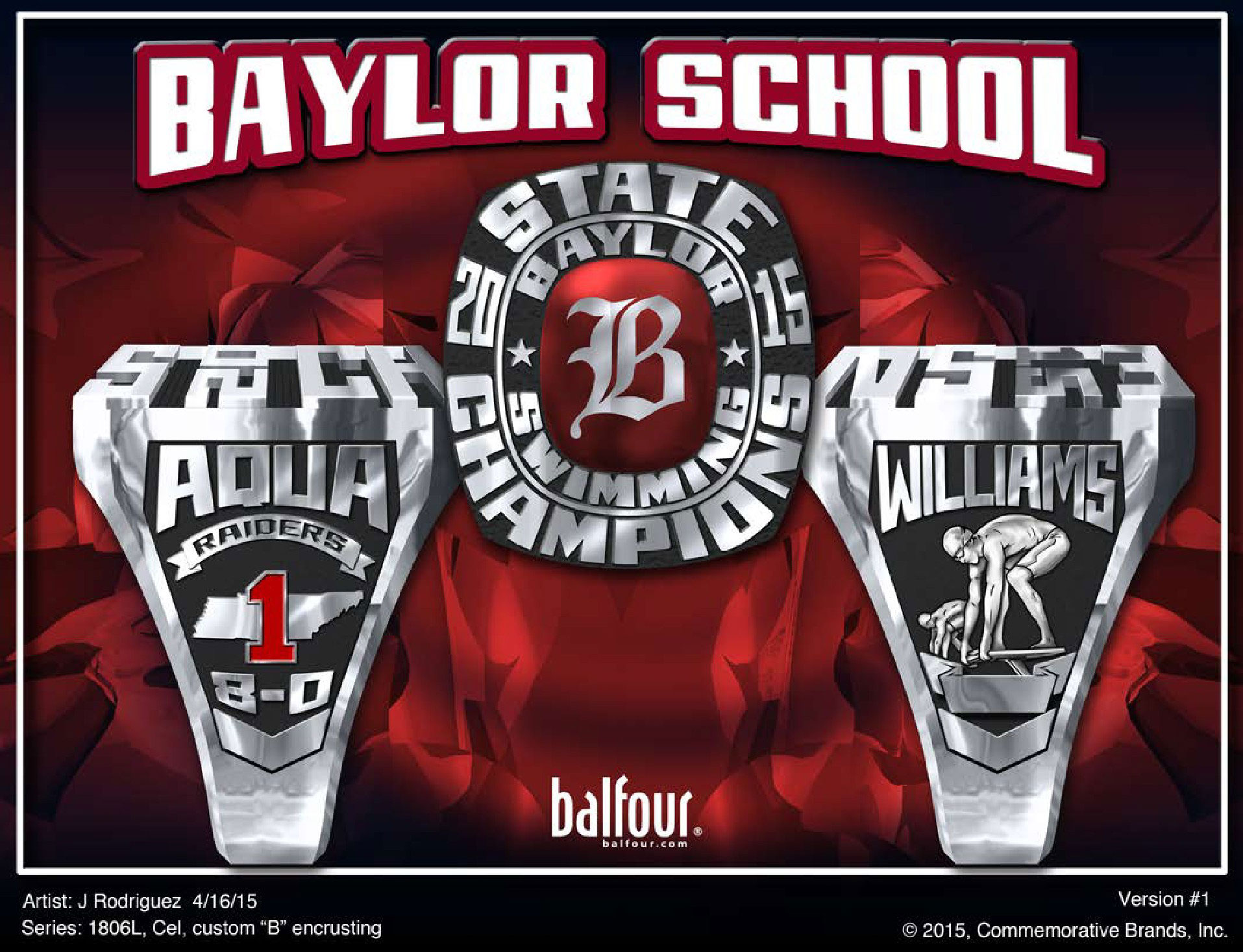 Swimming Baylor high school championship rings
