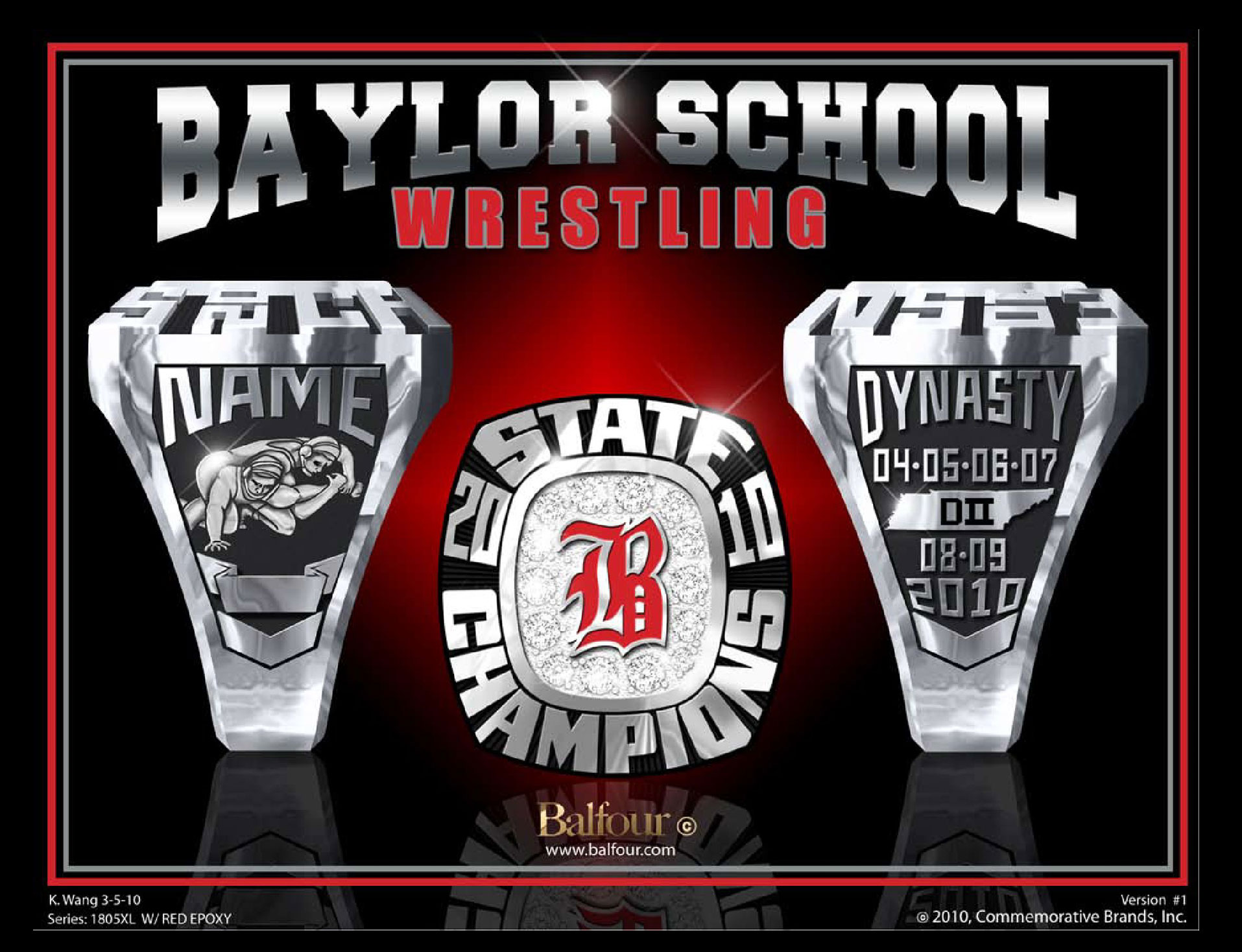 Wrestling Baylor high school championship rings