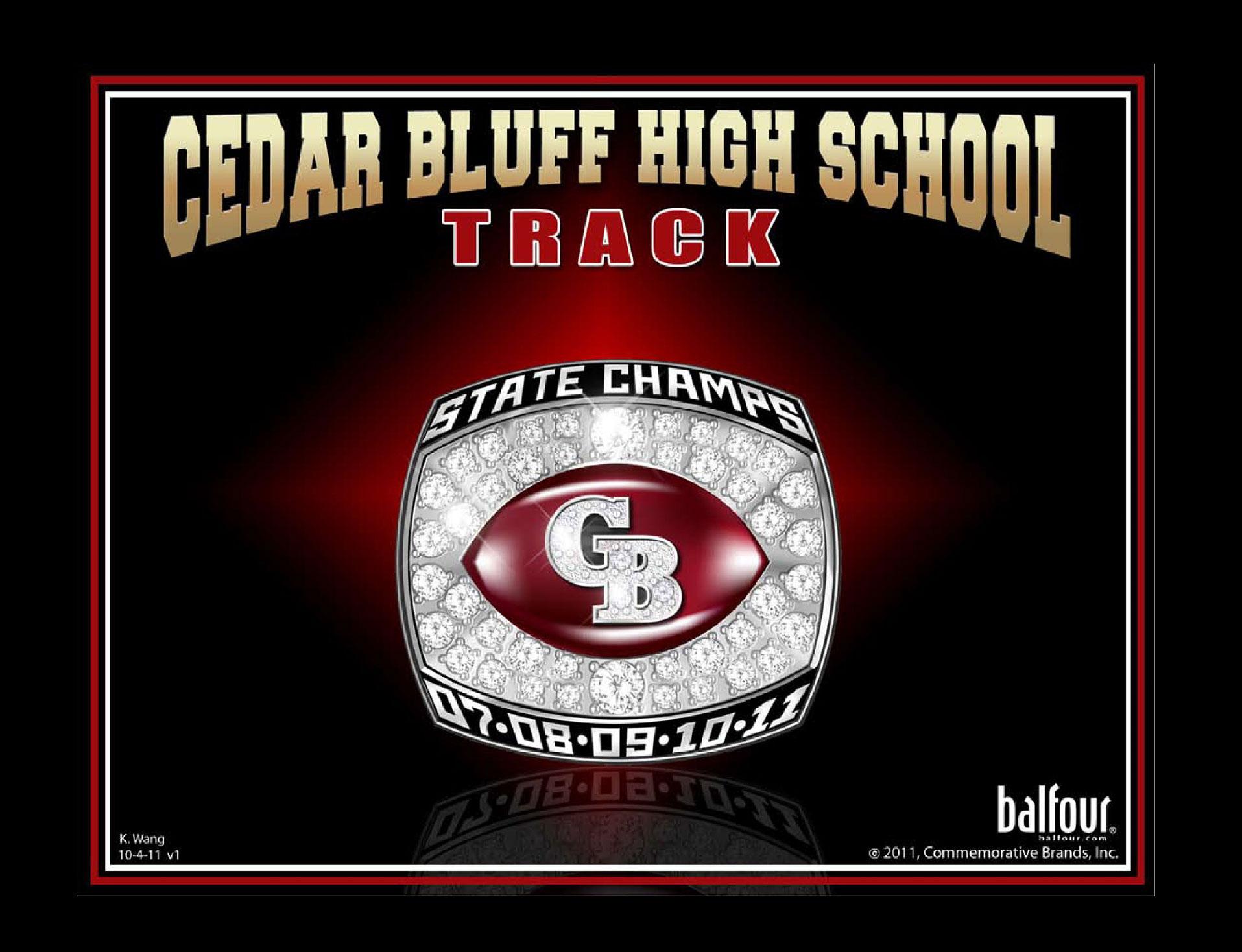 track cedar bluff high school championship rings
