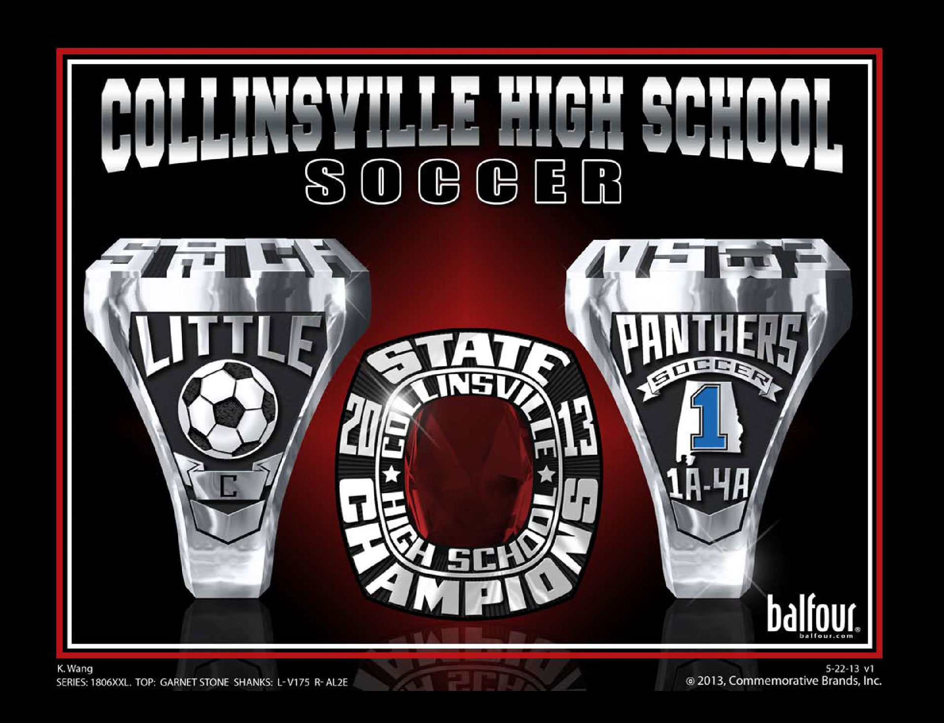 collinsville soccer high school championship rings
