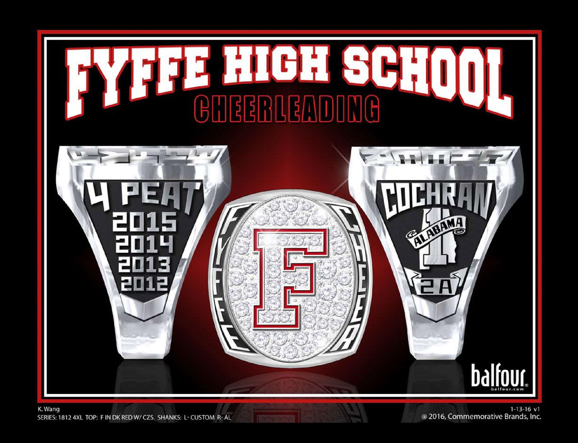 Fyffe cheerleading high school championship rings