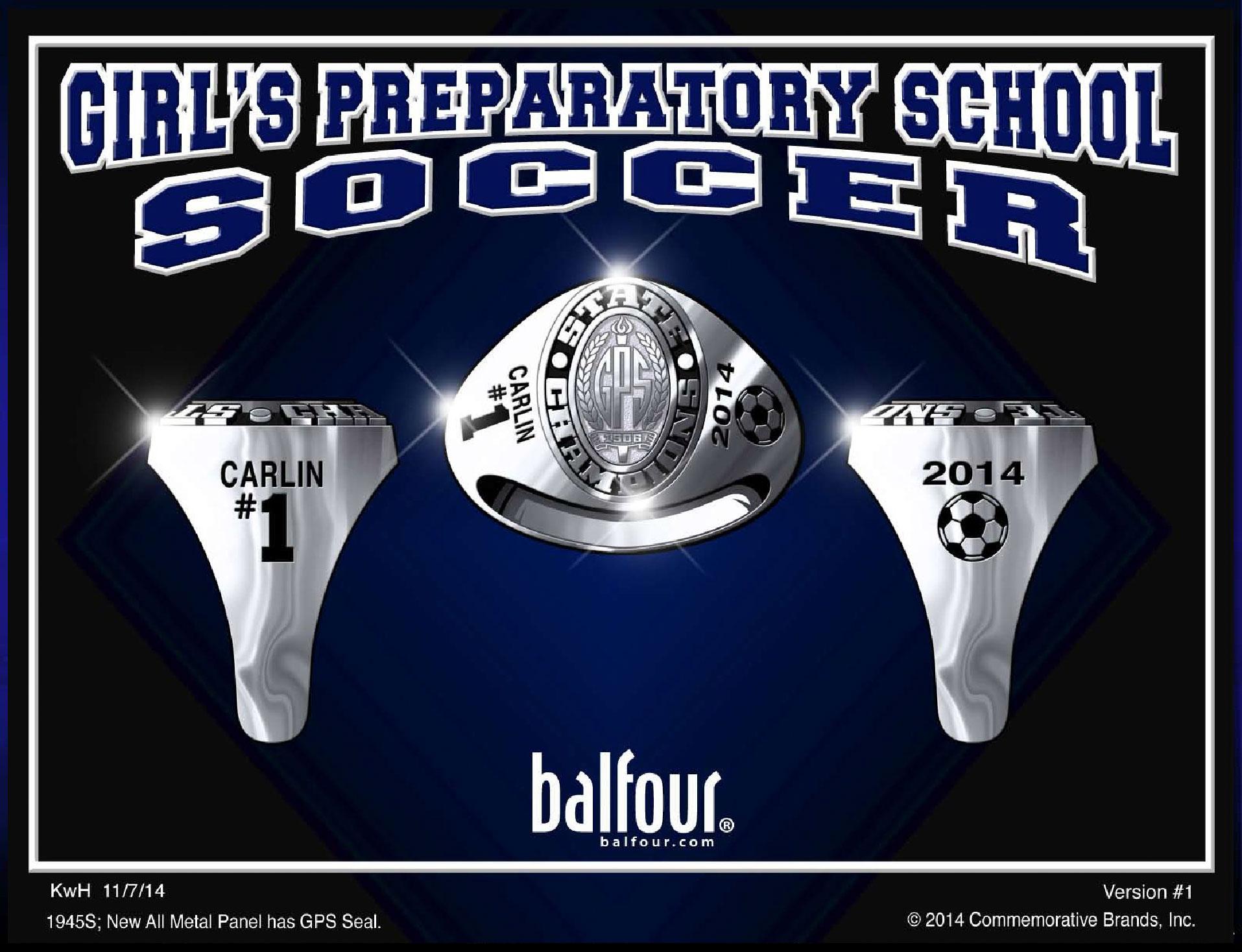 GPS Soccer high school championship rings