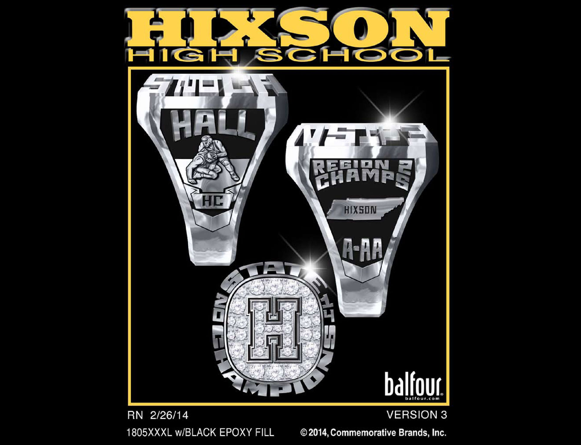hixson wrestling high school championship rings