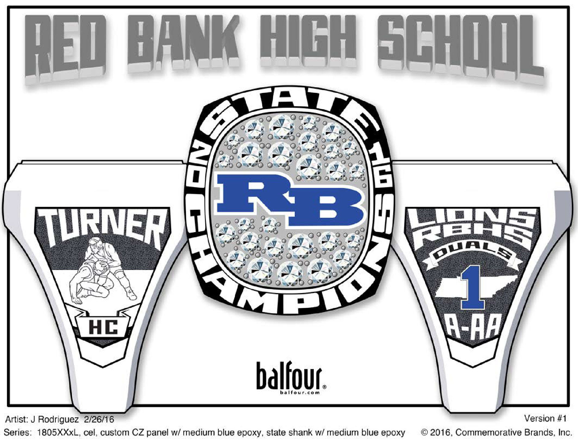 red bank wrestling high school championship rings