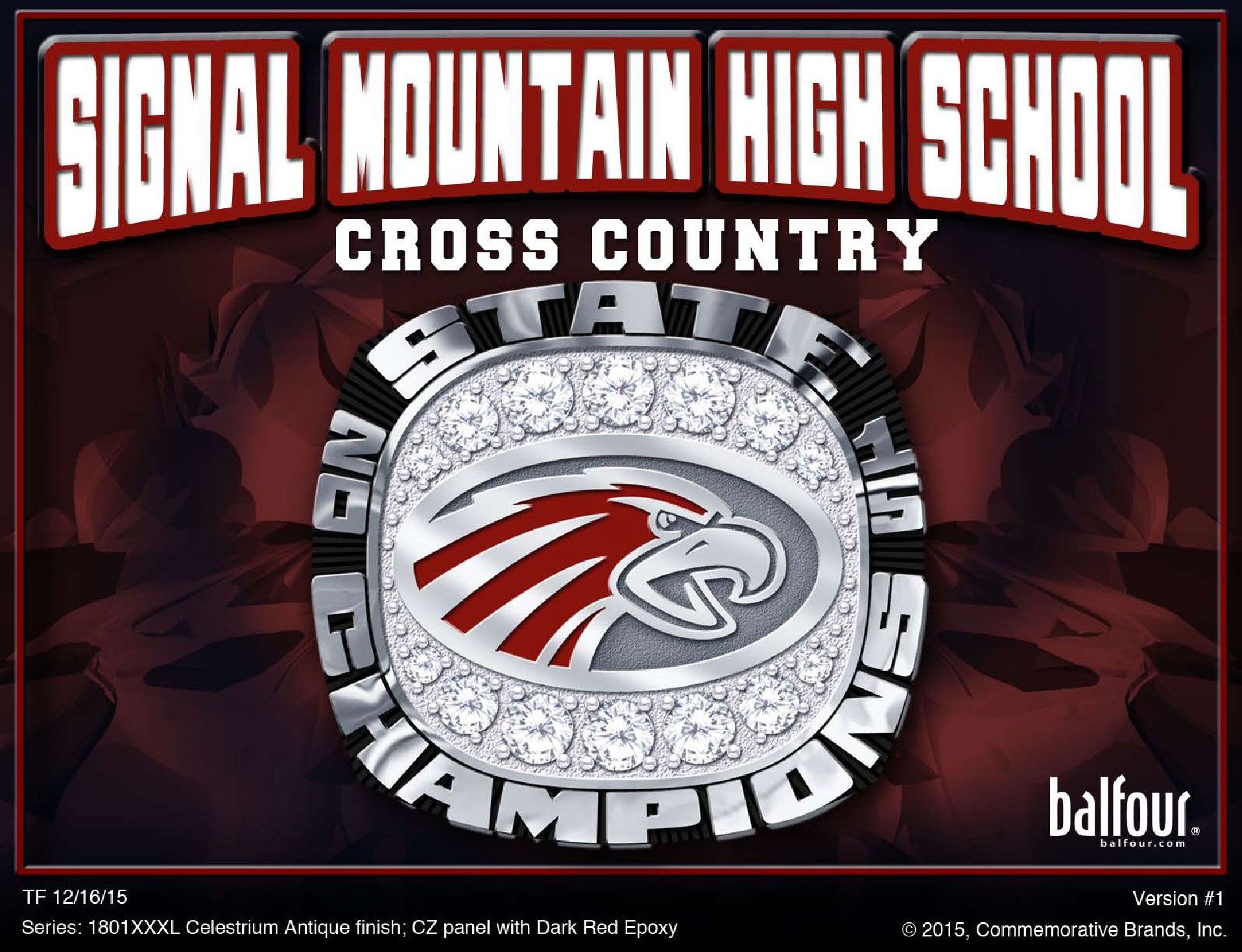 signal mountain high school cross country championship ring